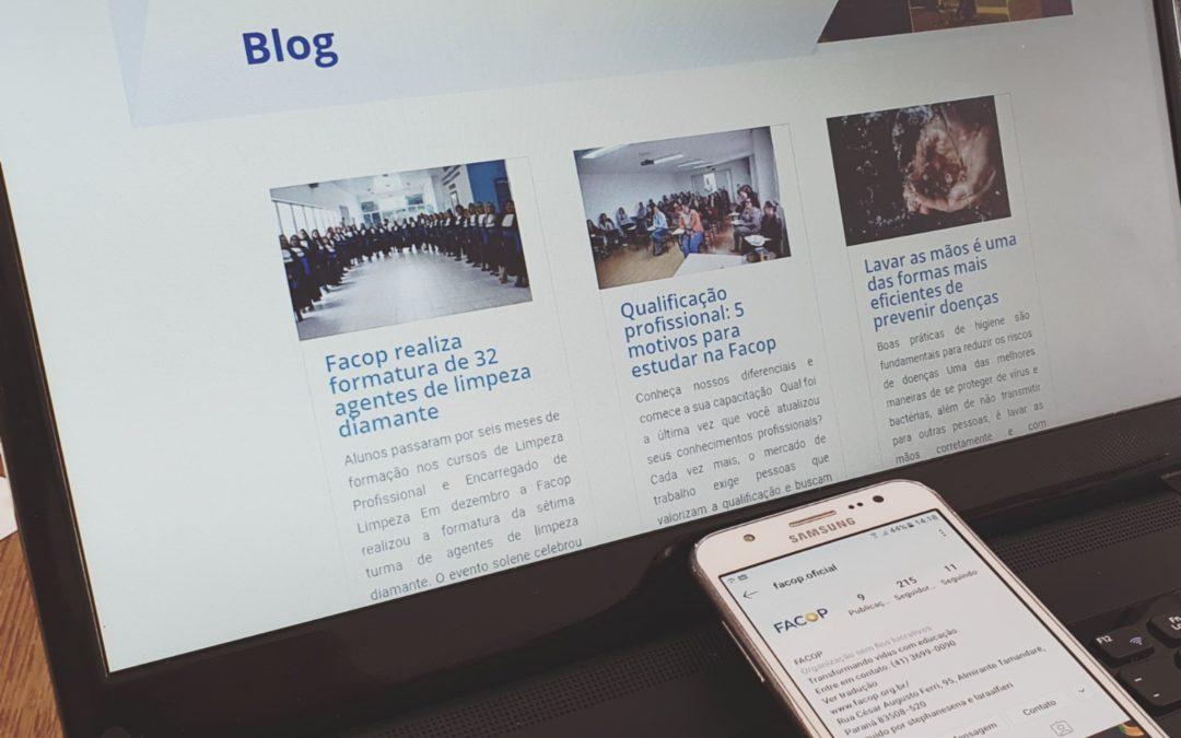 Novidade: Facop lança blog e novas redes sociais